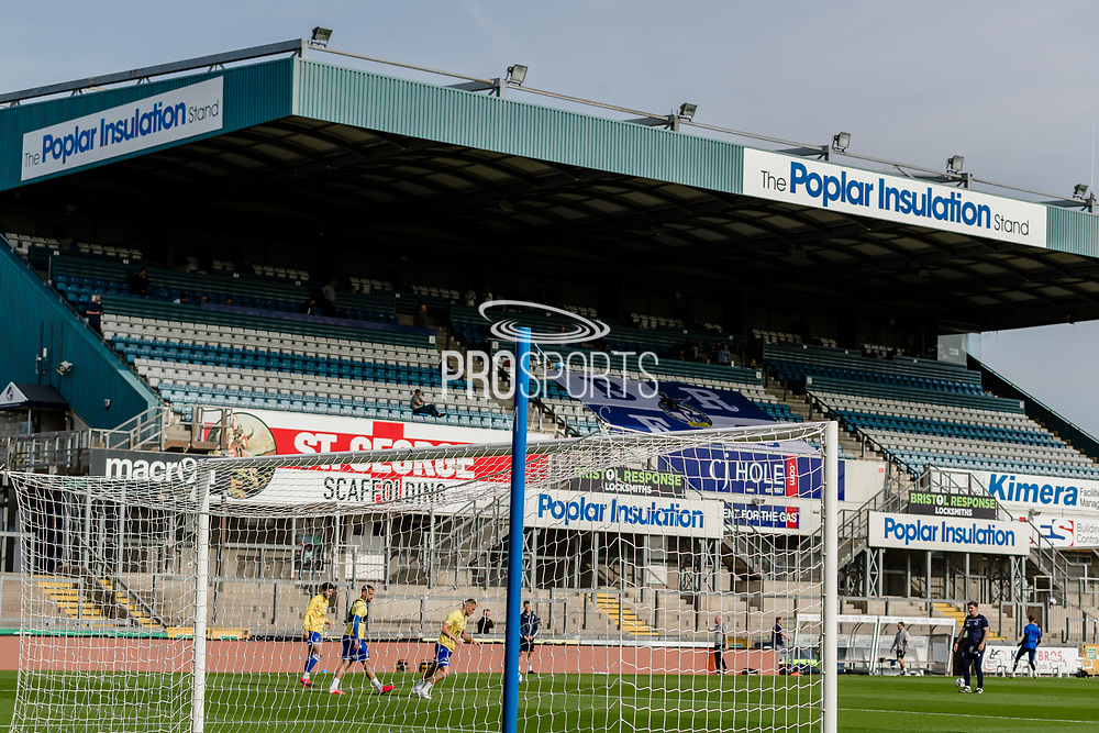 Bristol Rovers warm up prior to the EFL Sky Bet League 1 match between Bristol Rovers and Ipswich Town at the Memorial Stadium, Bristol, England on 19 September 2020.