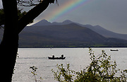 Fishing for brown trout and salmon on Lough Lein, Killarney, Ireland.<br /> Picture by Don MacMonagle -macmonagle.com