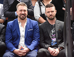 NSYNC Walk of Fame Ceremony. 30 Apr 2018 Pictured: Joey Fatone and Justin Timberlake. Photo credit: Tammie Arroyo/AFF-USA.com / MEGA TheMegaAgency.com +1 888 505 6342