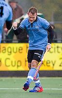WASSENAAR - HOCKEY - Simon Egerton van HGC  tijdens de hoofdklasse competitiewedstrijd tussen de mannen van HGC en Amsterdam (3-3). COPYRIGHT KOEN SUYK
