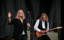 ©London News Pictures. Glastonbury Festival 2015<br /> <br /> PATTI SMITH performs on Pyramid stage on Sunday during Glastonbury Festival 2015, Worthy Farm, Pilton.<br /> <br /> Date: 28/06/2015<br /> Photographer: Artur Lesniak /LNP