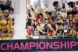 19.08.2014, Europa Sportpark, Berlin, GER, LEN, Schwimm EM 2014, Wasserspringen, 10m, Synchron, Damen, Vorkampf, im Bild v.l. My Phan, Maria Kurjo (Deutschland) // during the women's 10m synchronous Diving of the LEN 2014 European Swimming Championships at the Europa Sportpark in Berlin, Germany on 2014/08/19. EXPA Pictures © 2014, PhotoCredit: EXPA/ Eibner-Pressefoto/ Lau<br /> <br /> *****ATTENTION - OUT of GER*****