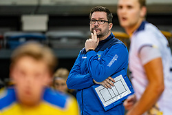 Per-Erik Dahlqvist of Sweden in action during the CEV Eurovolley 2021 Qualifiers between Sweden and Croatia at Topsporthall Omnisport on May 15, 2021 in Apeldoorn, Netherlands