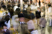 rush hour crowd in in a train station Tokyo Japan