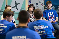 """© Licensed to London News Pictures . 15/04/2016 . Manchester , UK . LUCY POWELL MP visits Manchester Metropolitan University Business School and talks to students and supporters to campaign for the """" Britain Stronger in Europe """" campaign . Photo credit: Joel Goodman/LNP"""