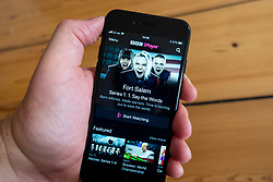 Detail of BBC iPlayer video streaming and catch up app on an smart phone screen