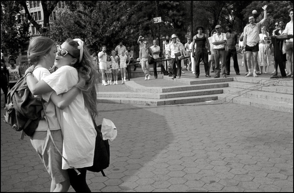 Maria Maggenti and Heidi Dorow dancing in Union Sq. Park in the summer of 1988.