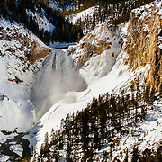 The winter landscape of the lower falls in Grand Canyon of the Yellowstone.