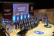 The Uruguay rugby team pose for a photograph on stage. Uruguay 2015 World Cup team welcoming ceremony at the Royal Welsh College of Music and Drama in Cardiff, Wales.on Monday 14th Sept 2015.<br /> pic by Andrew Orchard, Andrew Orchard sports photography.
