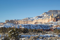 snow covered landscape in Abiquiu, New Mexico