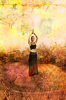 """Woman in goddess meditaiton in a wild garden.<br /> :::<br /> """"Evil (ignorance) is like a shadow-- it has no real substance of its<br /> own, it is simply a lack of light. You cannot cause a shadow to<br /> disappear by trying to fight it, stamp on it, by railing against it, or<br /> any other form of emotional or physical resistance. In order to cause a<br /> shadow to disappear, you must shine light on it"""" <br /> ― Shakti Gawain"""
