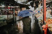Rainy winter day in the outdoor Carmel Market, Tel Aviv, Israel