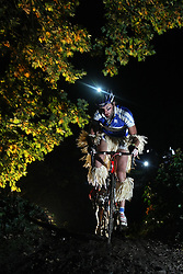 ©under licence to London News Pictures. 30 October 2010, A competitor in halloween costume takes part in a night time cyclo cross race at Herne Hill Velodrome, London. The Knog Muddy Hell Halloween Cyclo Cross event is open to all categories and halloween costume is encouraged as the event takes place on Halloween weekend. Prizes are awarded for race position and the best costume. 30 October 2010