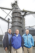 SHOT 10/29/18 9:54:29 AM - Sunrise Cooperative is a leading agricultural and energy cooperative based in Fremont, Ohio with members spanning from the Ohio River to Lake Erie. Sunrise is 100-percent farmer-owned and was formed through the merger of Trupointe Cooperative and Sunrise Cooperative on September 1, 2016. Photographed at the Clyde, Ohio grain elevator was George D. Secor President / CEO and John Lowry<br /> Chairman of the Board of Directors with  CoBank RM Gary Weidenborner. (Photo by Marc Piscotty © 2018)