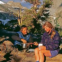 Backpackers cook breakfast in the Sierra Nevada.