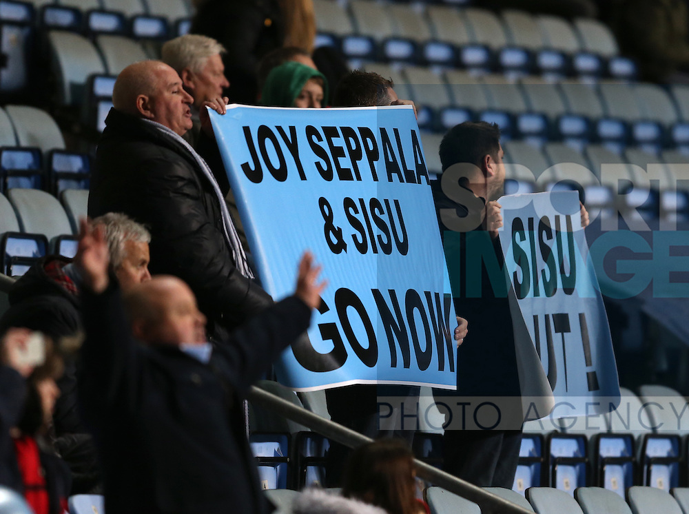 Coventry fans protest against their owners during the English League One match at the Rioch Arena Stadium, Coventry. Picture date: December 15th, 2016. Pic Simon Bellis/Sportimage