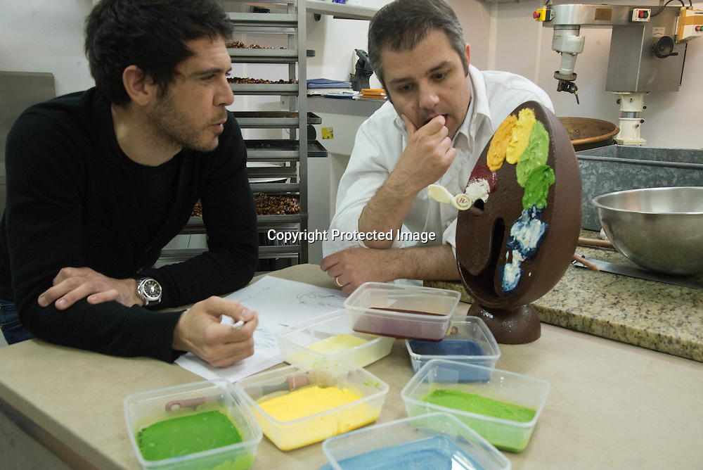 France. Paris . Chocolate Workshop of Hugo et Victor . Hugues Pouget and Sylvain Blanc create a new Chocolate Easter egg.