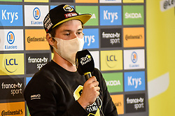 Primoz ROGLIC (SLO) who dropped from first place on the podium to second pictured during the last press conference after stage 20 of Tour de France cycling race, an individual time trial over 36,2 kilometers (22.5 miles) with start in Lure and finish in Planche des Belles Filles, France,Saturday, September 19, 2020.//JEEPVIDON_1555029/2009201604/Credit:jeep.vidon/SIPA/2009201605 / Sportida