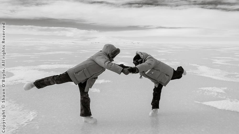 Amanda and Laura displaying their ice dancing skills