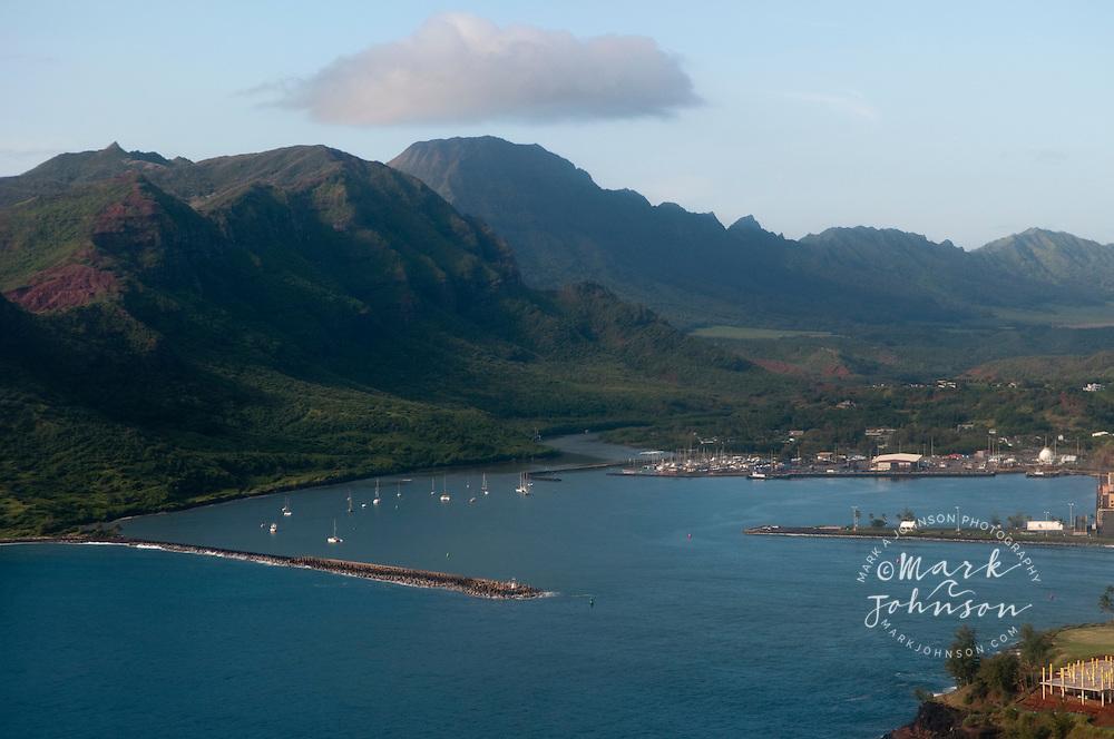 Aerial photo of Nawiliwili Harbor, Kauai, Hawaii