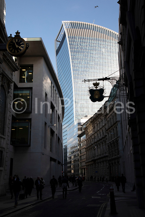 20 Fenchurch Street skyscraper seen between old buildings in the City of London, United Kingdom. 20 Fenchurch Street is a commercial skyscraper in London that takes its name from its address on Fenchurch Street, in the historic City of London financial district. It has been nicknamed The Walkie-Talkie because of its distinctive shape.