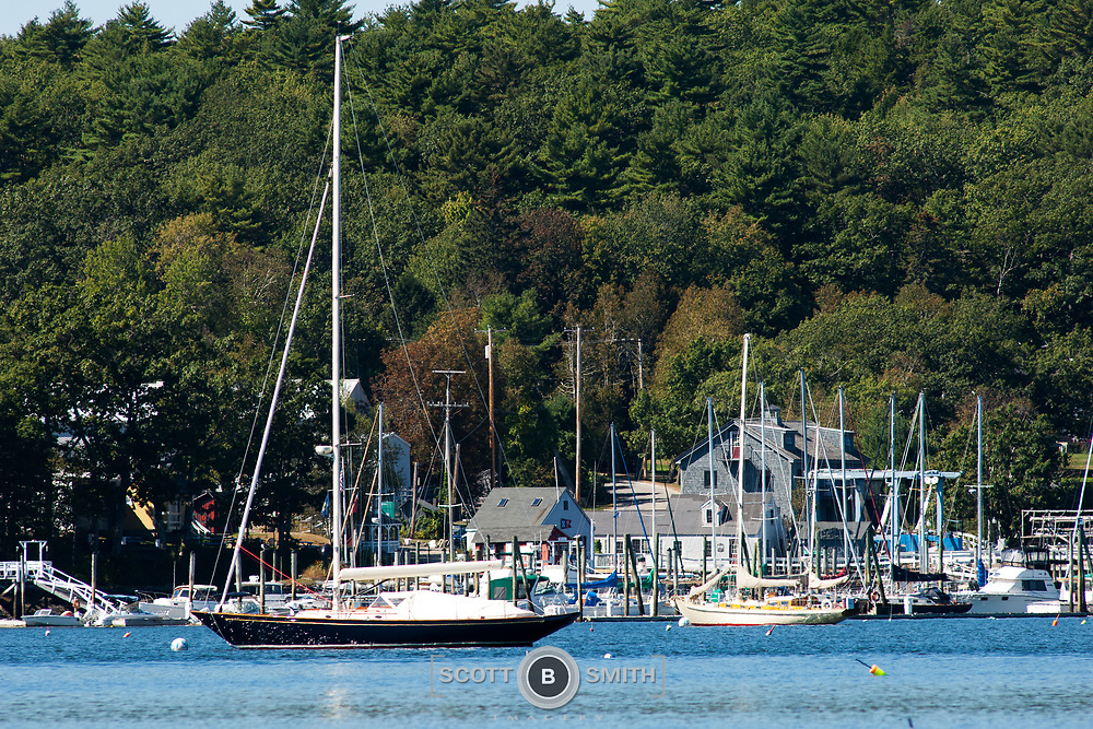 Pleasure boats moored in Moffat Cove, Boothbay region of Maine.