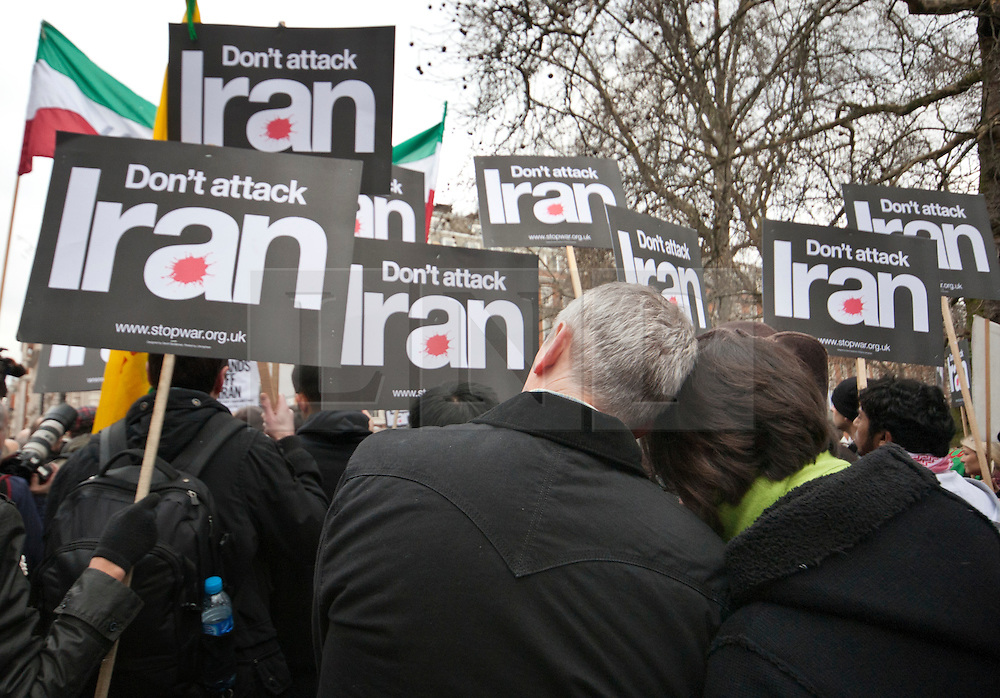 © licensed to London News Pictures. London, UK 28/01/12. Stop War Coalition protests against Western intervention in the Middle East, outside US Embassy in London. Photo credit: Tolga Akmen/LNP