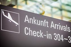 THEMENBILD - Airport Muenchen, Franz Josef Strauß (IATA: MUC, ICAO: EDDM), Der Flughafen Muenchen zählt zu den groessten Drehkreuzen Europas, rund 100 Fluggesellschaften verbinden ihn mit 230 Zielen in 70 Laendern, im Bild Hinweisschild Ankunft Check-in // THEME IMAGE, FEATURE - Airport Munich, Franz Josef Strauss (IATA: MUC, ICAO: EDDM), The airport Munich is one of the largest hubs in Europe, approximately 100 airlines connect it to 230 destinations in 70 countries. picture shows: Sign arrival check-in, Munich, Germany on 2012/05/06. EXPA Pictures © 2012, PhotoCredit: EXPA/ Juergen Feichter