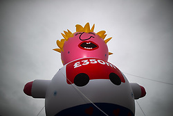 © Licensed to London News Pictures . 29/09/2019. Manchester, UK. A Boris Johnson inflatable blimp balloon is erected in Castlefield by pro-EU demonstrators . Demonstrations for and against Brexit , austerity measures , the environment and numerous social issues take place across Manchester during the first day of the Conservative Party Conference taking place at the Manchester Central Exhibition Centre . Photo credit: Joel Goodman/LNP