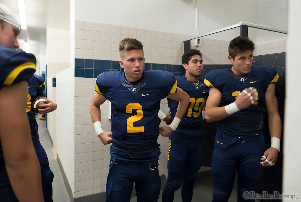 Oak Ridge Trojans quarterback Marco Baldacchino (2), gets ready before the game as the Oak Ridge High School Trojans host the Granite Bay Grizzlies, Friday Oct 14, 2016.<br /> photo by Brian Baer