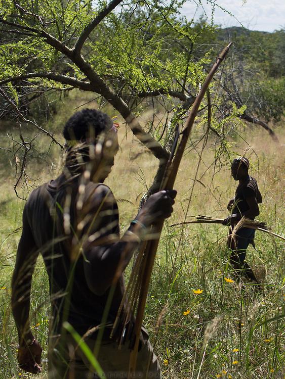Hunting in the Gideru mountains with Kaunda and January, two Hadza hunters.