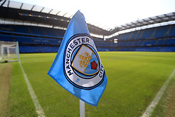 A general view of a Manchester City flag ahead of the match