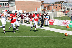 20 October 2012:  Pete Cary and Darrelynn Dunn try to catch a fumbled ball but the play results in a Safety and 2 points for the Bears during an NCAA Missouri Valley Football Conference football game between the Missouri State Bears and the Illinois State Redbirds at Hancock Stadium in Normal IL