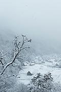 Scenic winter landscape with covered in snow village, Shirakawa-go, Japan