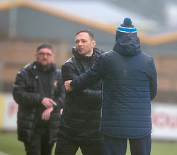 East Fife's manager Darren Young and Forfar Athletic's manager Jim Weir at the end. Forfar Athletic 3 v 0 East Fife, Scottish Football League Division One game played 2/3/2019 at Forfar Athletic's home ground, Station Park, Forfar.