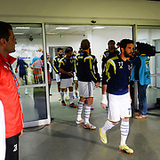 Fenerbahce's players during their Turkish Super League soccer match Akhisar Belediye Genclik Spor between Fenerbahce at the 19 Mayis Stadium in Manisa Turkey on Sunday, 28 September 2014. Photo by TURKPIX