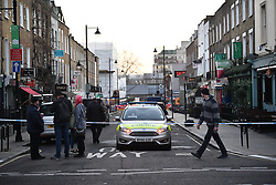 © Licensed to London News Pictures. 19/02/2019. London, UK. The scene at a hotel where a man has been found dead after being stabbed to death near Euston Station in London. Photo credit: Ben Cawthra/LNP
