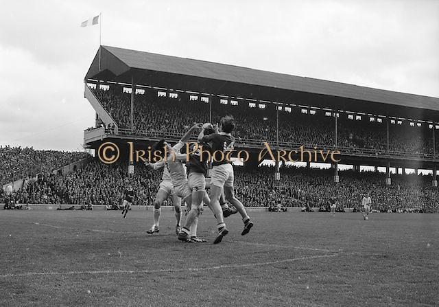 Corks full forward M. Doherty (no.14) gets the ball in a scuffle with Sligo's J. Brennan during the All Ireland Minor Gaelic Football Final Sligo v. Cork in Croke Park on the 22nd September 1968. Cork 3-5, Sligo 1-10.