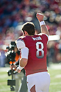 Nov 23, 2012; Fayetteville, AR, USA; Arkansas Razorbacks quarterback Tyler Wilson (8) waits to be recognized for Senior Day before a game against the Louisiana State Tigers at Donald W. Reynolds Stadium.  LSU defeated Arkansas 20-13. Mandatory Credit: Beth Hall-US PRESSWIRE