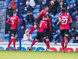 Kilmarnock's Kris Boyd celebrates scoring his side's first goal of the game during the Ladbrokes Scottish Premiership match at Ibrox Stadium, Glasgow.