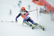 United States' Julia Mancuso competes in the slalom portion of the Ladies' Super Combined at the Sochi 2014 Winter Olympics on February 10, 2014 in Krasnaya Polyana, Russia. Mancuso won a bronze medal in the event.  (UPI)