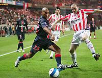 Fotball<br /> Frankrike / Irland<br /> Foto: Dppi/Digitalsport<br /> NORWAY ONLY<br /> <br /> FOOTBALL - UEFA CUP 2006/2007 - 1ST ROUND - 2ND LEG - PARIS SAINT GERMAIN v DERRY CITY FC - 28/09/2006<br /> <br /> PAULO CESAR (PSG) / SEAN HARGAN (DER)