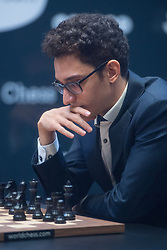 American challenger Fabiano Caruana during his tie-break matches against Norwegian reigning champion Magnus Carlson at the FIDE World Chess Championship match, at the College, in Holborn, London.