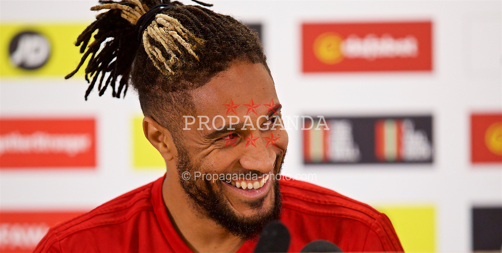CARDIFF, WALES - Wednesday, September 5, 2018: Wales' captain Ashley Williams during a press conference at the Cardiff City Stadium ahead of the UEFA Nations League Group Stage League B Group 4 match between Wales and Republic of Ireland. (Pic by David Rawcliffe/Propaganda)