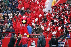 04 November 2017:   Reggie Redbird leads the roller coaster during the Western Illinois Leathernecks at Illinois State Redbirds Football game at Hancock Stadium in Normal IL (Photo by Alan Look)