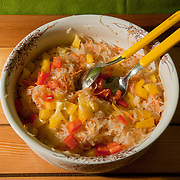 Sauerkraut salad with apple <br /> Serves 3<br /> <br /> Ingredients: 500gr Sauerkraut<br /> 1 big apple  <br /> 1 carrot <br /> ½ onion<br /> 1 small red pepper <br /> 1 small yellow pepper<br />  <br /> Preparation: <br /> 1.Grind the apple, the carrot<br /> 2.Slice the onion<br /> 3.Cut the pepper into small pieces<br /> 4.Mix together