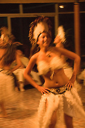 Chile, Easter Island:  The Kari Kari dance troupe dances at the Hotel Hanga Roa in Hanga Roa.  Easter Island and South Pacific dance styles..Photo #: ch325-33014.Photo copyright Lee Foster www.fostertravel.com lee@fostertravel.com 510-549-2202