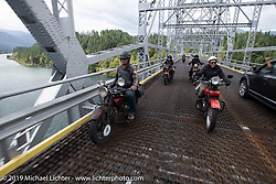 Doug Feinsod on his Indian beside land-speed record holder Jody Perewitz as they cross a bridge into Oregon on the last day of the Motorcycle Cannonball coast to coast vintage run. Stage 15  (51 miles - the Grand Finish) from The Dalles to Stevenson, OR. Sunday September 23, 2018. Photography ©2018 Michael Lichter.