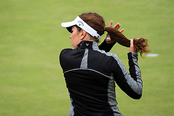 Gleneagles, Scotland, UK; 10 August, 2018.  Day three of European Championships 2018 competition at Gleneagles. Men's and Women's Team Championships Round Robin Group Stage. Four Ball Match Play format.  Pictured; Great Britain's Georgia Hall pleats her hair on the first green.