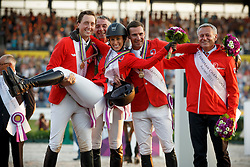 Bronze medal, Team Switserland, Duguet Romain, Fuchs Martin, Springer Janica, Estermann Paul, Kistler Andy<br /> Individual competition round 3 and Final Team<br /> FEI European Championships - Aachen 2015<br /> © Hippo Foto - Dirk Caremans<br /> 21/08/15